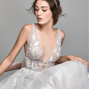 Galatea Embroidered V-Neck Tulle Wedding Dress